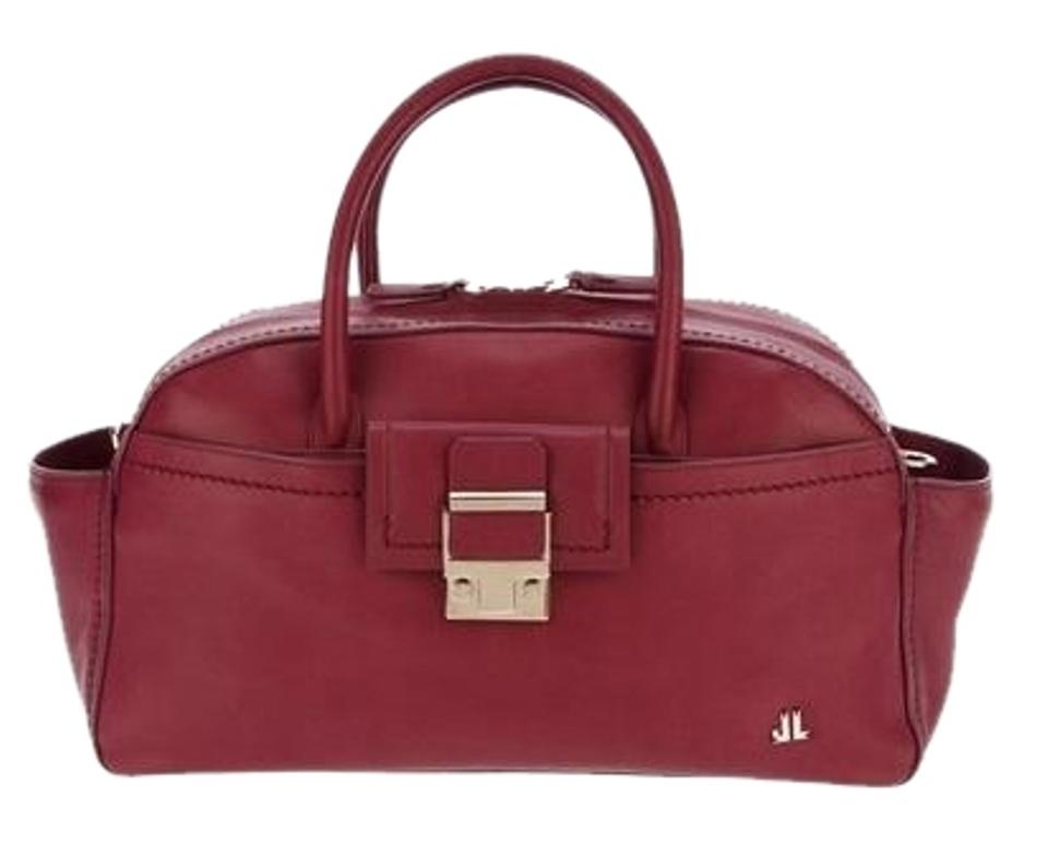 Lanvin Maroon Bowling Shoulder Top Handle New Red Calfskin Leather ... 83652b0df6377