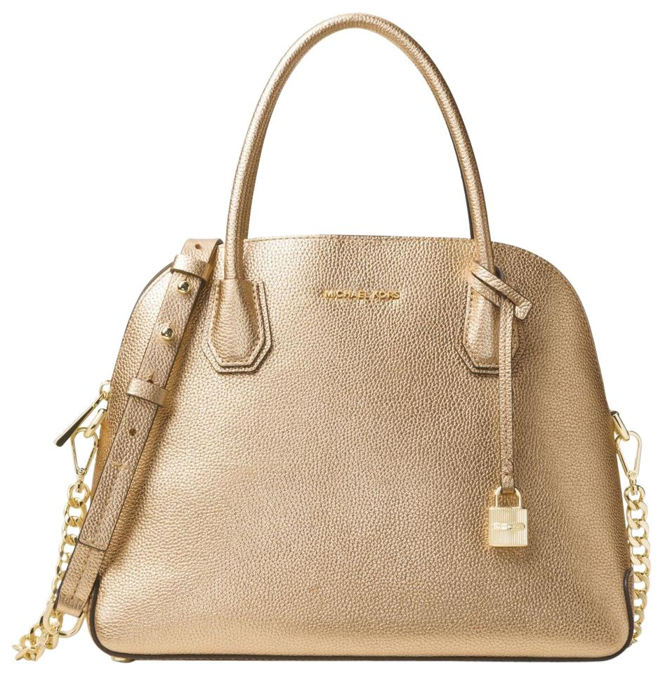 2a9f30042820 Michael Kors Mercer Large Metallic Dome Pale Gold Leather Satchel ...