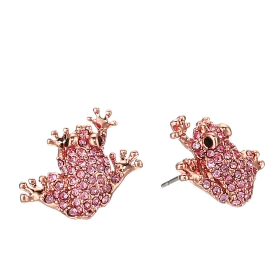 rhinestone l heart swarovski pink earrings stud crystal
