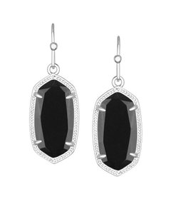 Kendra Scott NEW Kendra Scott Dani Silver Black Glass Drop Earrings