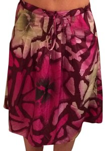 Calvin Klein Pomegranate Floral Pleated Skirt Purple
