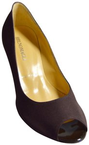Bruno Magli Peep Toe Patent Leather Comfortable Brown Pumps