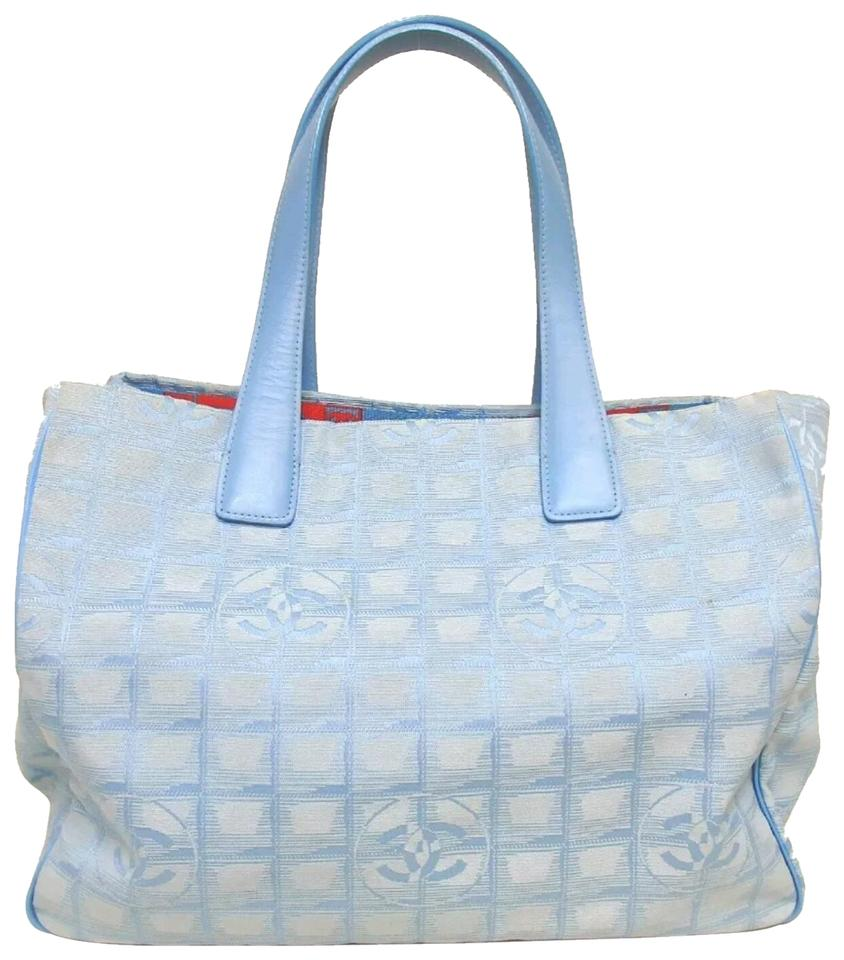 2e3a9b06619fe6 Chanel Travel Travel Line Shopping Canvas Leather Tote in blue Image 0 ...
