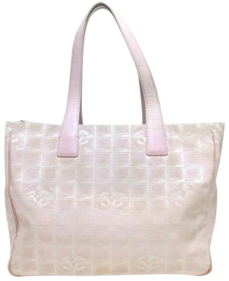 35962737dcee9e Chanel New Travel Line Mm Jacuard Cc Tote Hand Pink Nylon Shoulder ...