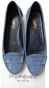 Saint Laurent Patent Blue Flats