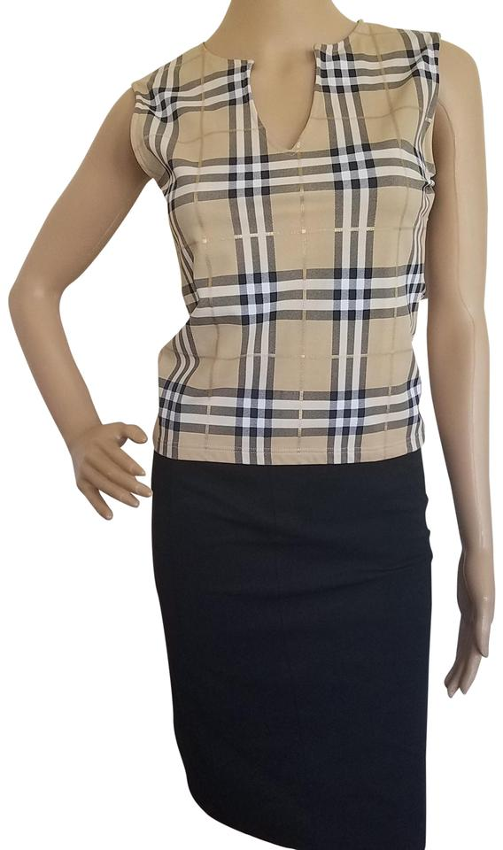 af55f0575013df Burberry Beige Black Multicolor Gold Tan White Plaid Printed Sleeveless  Blouse