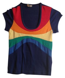 Vintage T Shirt Dark blue with Rainbow
