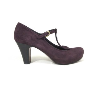 Chie Mihara Designer Suede Heart Purple Pumps