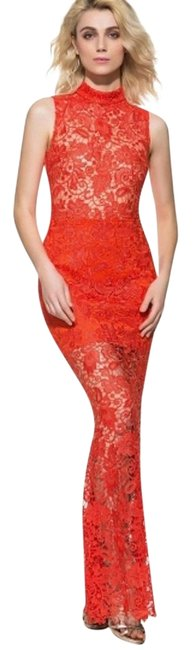 Item - Red Hollow Lace Mermaid Women's Long Casual Maxi Dress Size 4 (S)