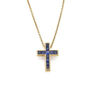 Tiffany co sapphire 18k yellow gold cross pendant necklace tradesy sapphire 18k yellow gold cross pendant necklace aloadofball Image collections