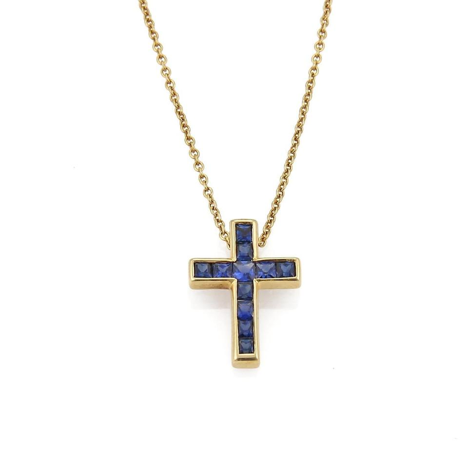 Tiffany co sapphire 18k yellow gold cross pendant necklace tradesy sapphire 18k yellow gold cross pendant necklace aloadofball Gallery