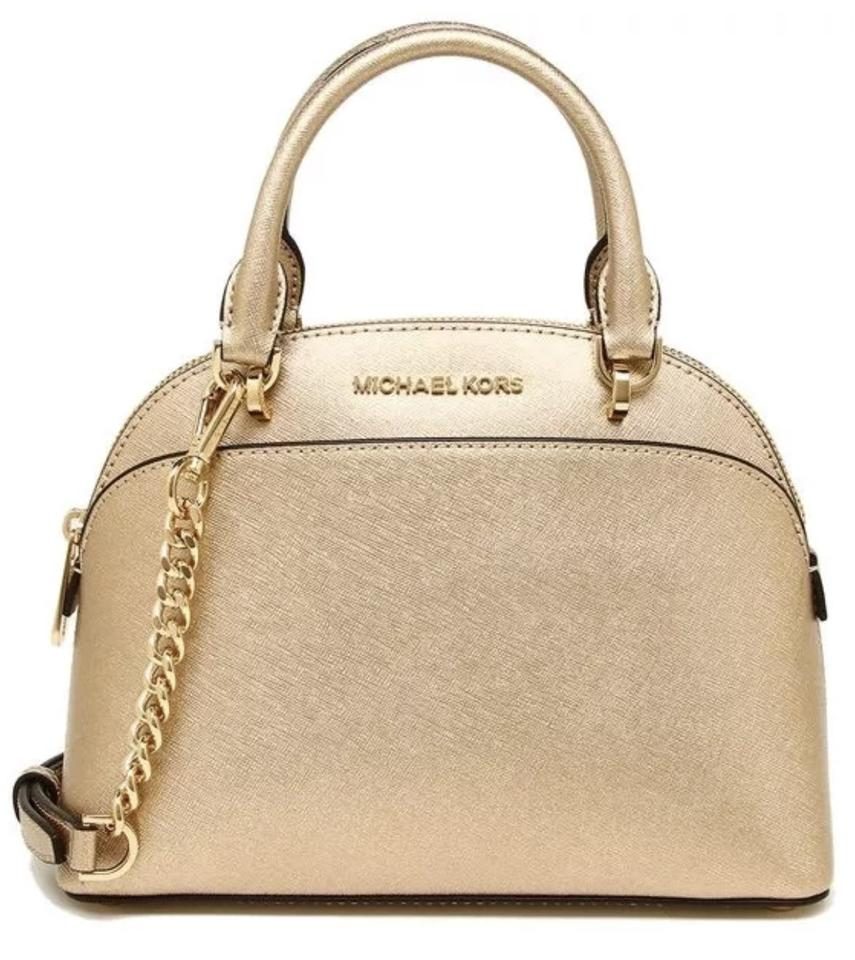 6053f9d6d33a Michael Kors Emmy Small Dome Satchel Pale Gold Saffiano Leather Tote ...