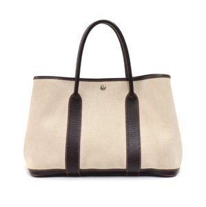 Hermès Canvas Leather Handbag Tote in Beige