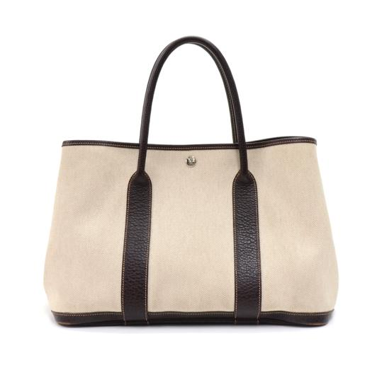 Preload https://img-static.tradesy.com/item/23002134/hermes-garden-party-pm-chocolate-brown-leather-hand-beige-canvas-tote-0-0-540-540.jpg