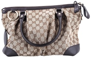 Gucci Leather Monogram Satchel in Brown