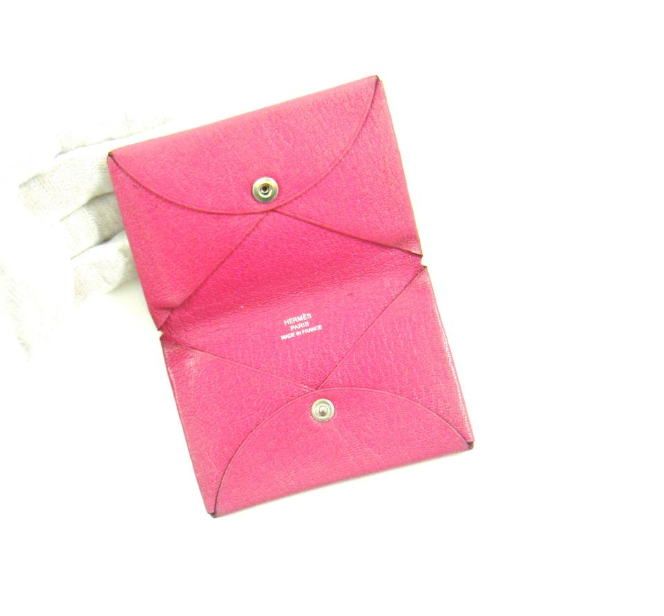 Herms pink calvi leather business card holder case france wallet herms pink calvi leather business card holder wallet case france 123 colourmoves Gallery