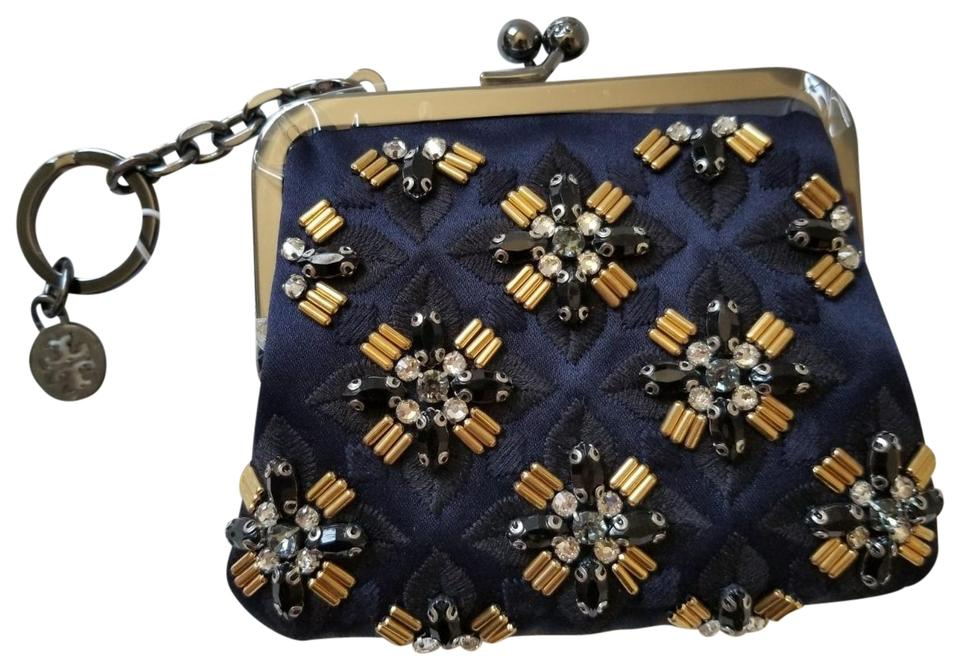 Tory burch navy new applique beads jeweled coin pouch purse key