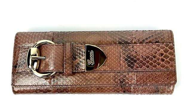Item - Python Romy Buckle Gold Patent Leather Clutch