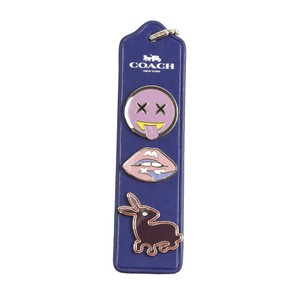Coach 21651 Varsity Collectible Lips Emoji Bunny Pin Set Bookmark Key Chain