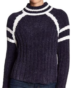 LINE Chenille Mock Neck Blue Sweater