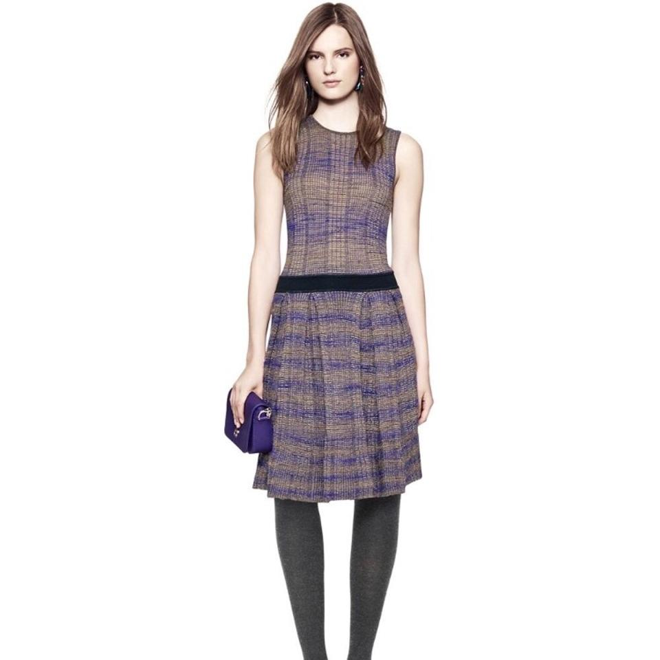 92730231d20 Tory Burch Purple and Beige Nadia Knit Mid-length Work Office Dress ...
