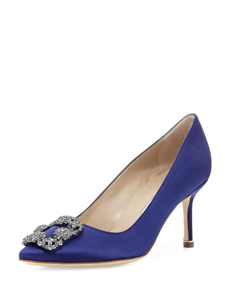 8e05d2dbe2a9 Manolo Blahnik Medium Purple Hangisi Satin 70mm Pumps Size EU 38 ...