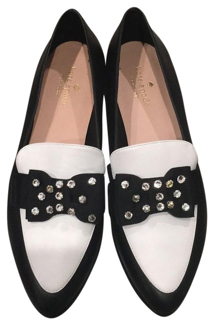 Item - Black and White Bow Leather Flats Size US 8.5 Regular (M, B)
