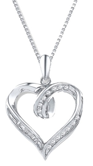 Preload https://item1.tradesy.com/images/kay-jewelers-sterling-silver-diamond-heart-18-ct-tw-baguetteround-necklace-2300310-0-0.jpg?width=440&height=440