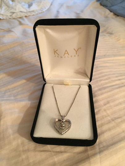Kay Jewelers DIAMOND HEART NECKLACE 1/8 CT TW BAGUETTE/ROUND STERLING SILVER