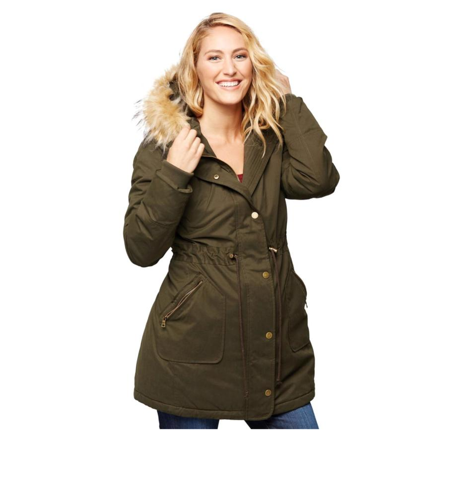 17f55f75055a9 A Pea In The Pod Olive Green Faux Fur Hooded Maternity Parka Coat ...