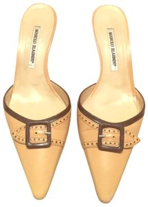 Manolo Blahnik camel & Dark brown Mules
