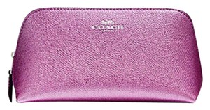 Coach COSMETIC CASE 17 IN METALLIC PINK LEATHER F23332