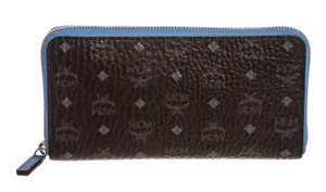 MCM MCM Black Blue Visetos Leather Zipper Wallet