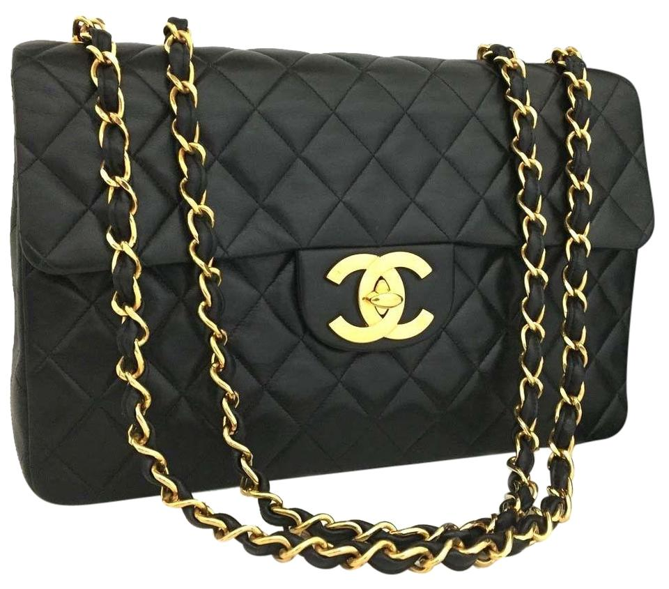 f6804bac600e Chanel Classic Flap Maxi Jumbo Quilted Matelasse Xl W/Chain Black Lambskin Leather  Shoulder Bag