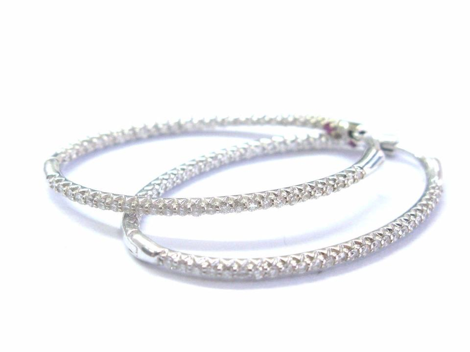 f6dfc7060 Roberto Coin 18Kt Inside Out Oval Shape White Gold Hoop Earrings .75Ct 1.5  ...