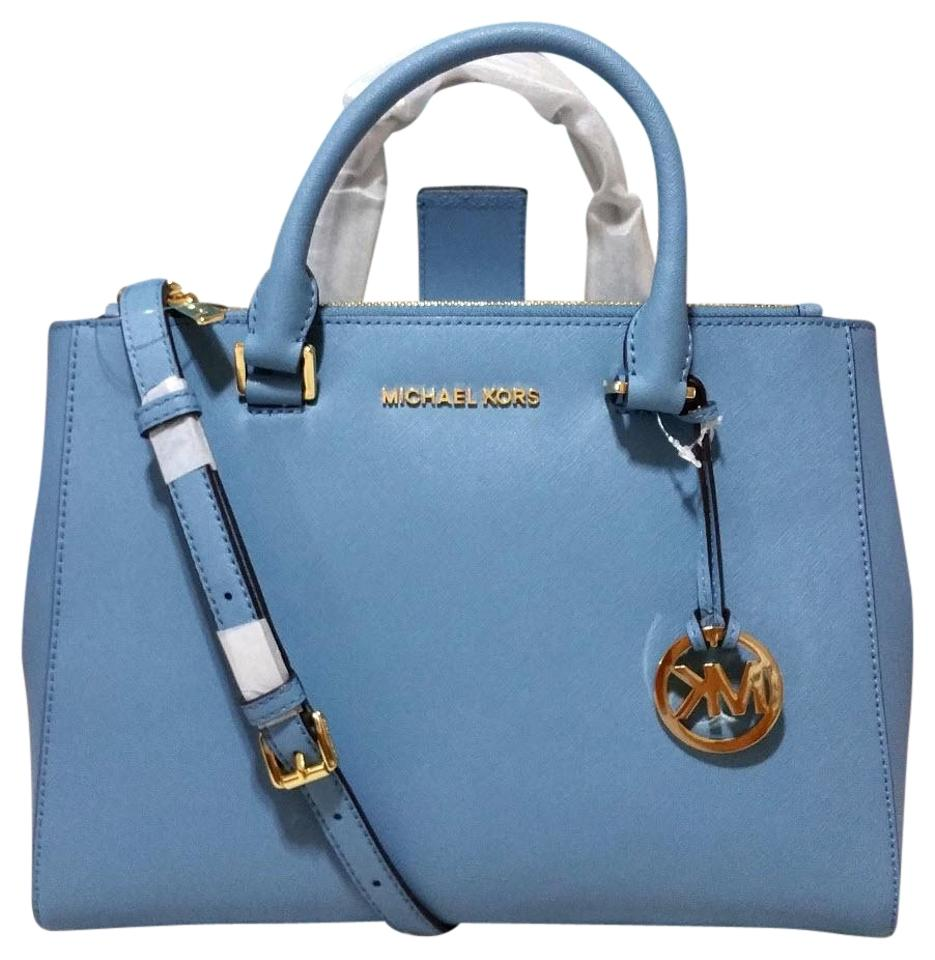 b12a25e47bfe Michael Kors Kellen Medium Satchel Adj Strap Blue Leather Shoulder ...