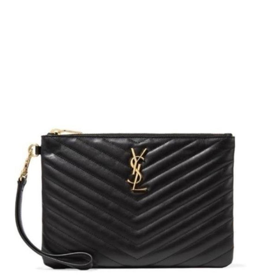 cadab7bdce Saint Laurent Monogram Matelasse Quilted Leather Pouch Clutch - Tradesy