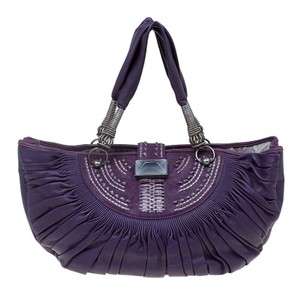 Dior Plisse Pleated Leather Tote in Purple