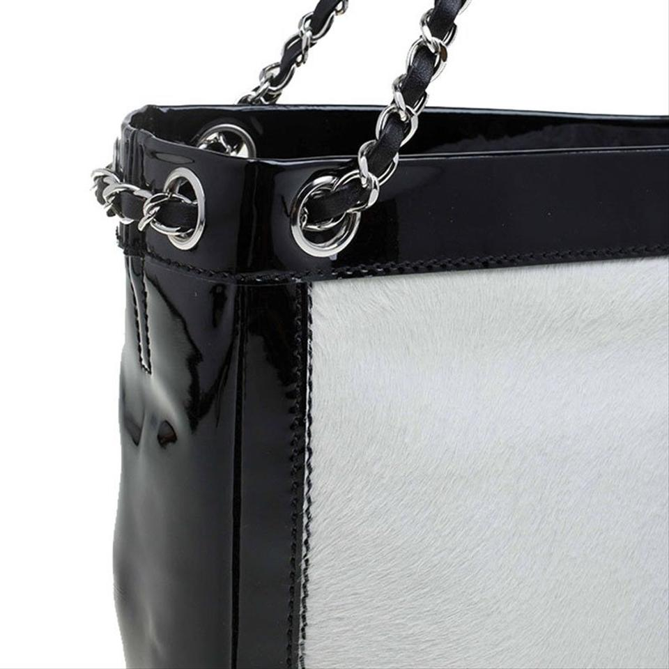 ccd286ac1a0025 Chanel Pony Hair Patnet Leather Runway Tote in Black/White Image 11.  123456789101112
