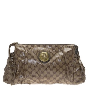 Gucci Hysteria Coated Canvas Brown Clutch