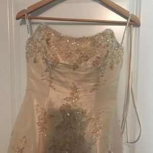 Anjolique Gold and Tan Sexy Wedding Dress Size 8 (M)