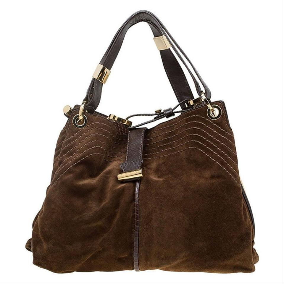 Jimmy Choo Cognac and Watersnake Trim Alex Brown Suede Leather Hobo Bag 4c790ccf0d379