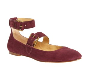 Splendid Buckled Straps Round Toe Suede Construction Adjustable Straps Buckle Closure NWT Wine Flats
