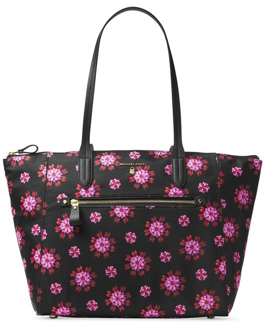 Item - Large Kelsey Black and Ultra Pink Canvas Tote