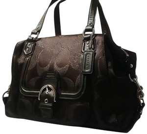 Coach Campbell L Large Bordeaux Glitter Sateen Satchel in Brown