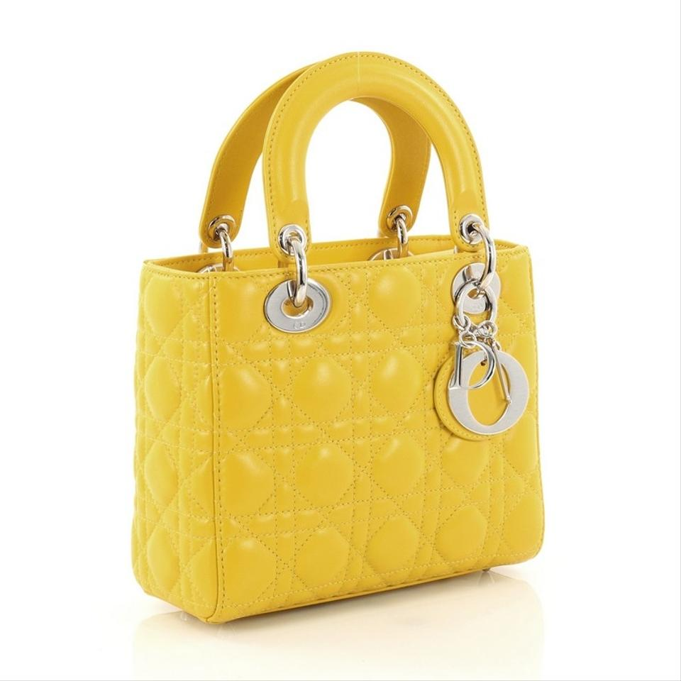 dior lady dior my lady dior my handbag cannage quilt lambskin yellow leather cross body bag. Black Bedroom Furniture Sets. Home Design Ideas