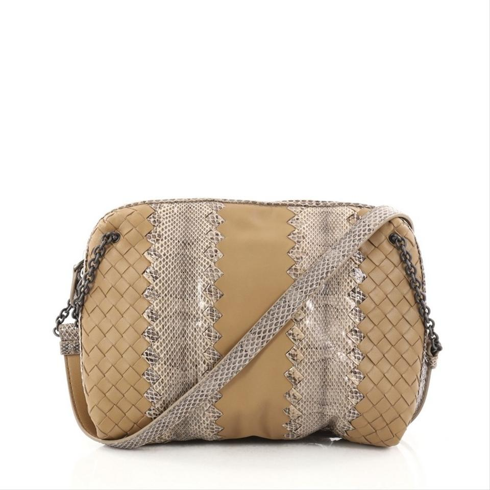 Bottega Veneta Chain Intrecciato Nappa and Snakeskin Small Tan ... 2779072bd03e1