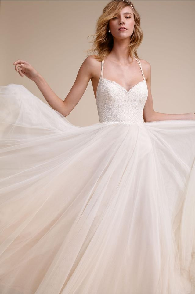 b5a7b08830d26 BHLDN Almond/Ivory Lace and Tulle Rosalind Gown Feminine Wedding Dress Size  8 (M ...