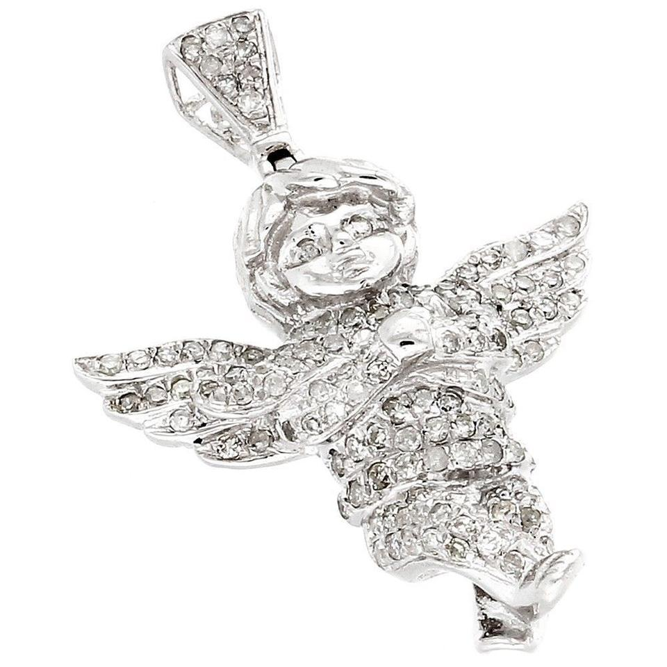 Jewelry for less white gold angel diamond pendant 10k flying wings jewelry for less angel diamond pendant 10k white gold flying wings cherub charm 070 ct aloadofball Image collections