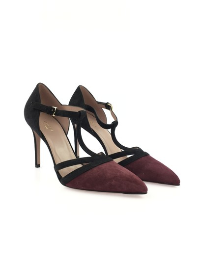 Gucci Suede Leather T Strap Heel Black and Burgundy Pumps Image 1